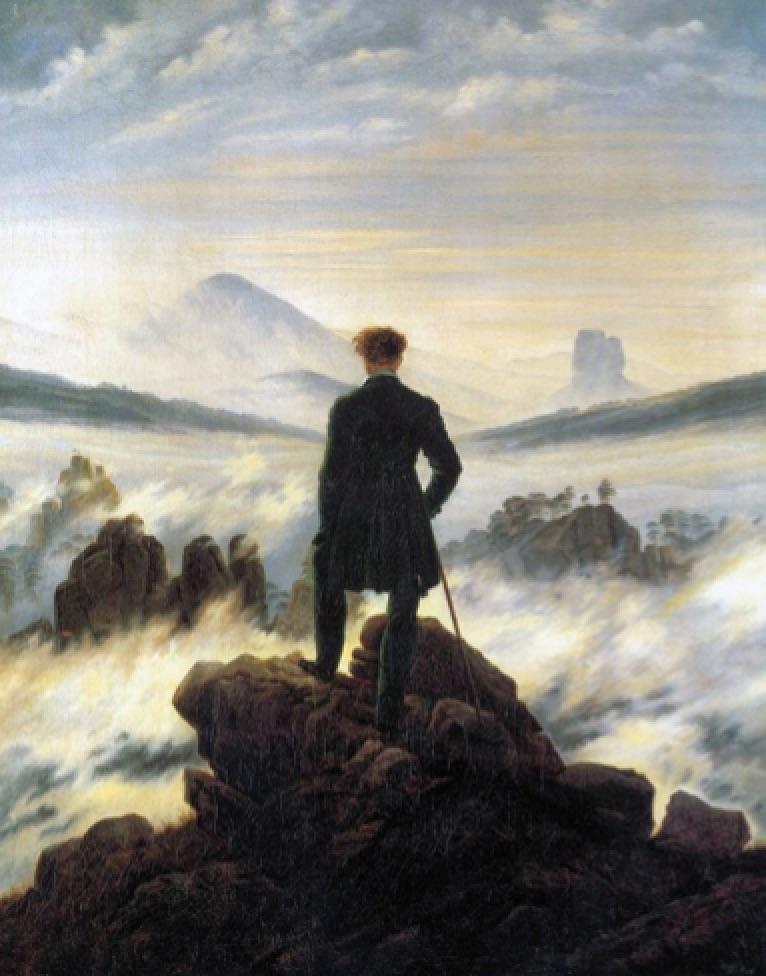 El Caminante frente al mar de niebla (1818), Caspar David Friedrich, Kundesthalle, Hamburgo.